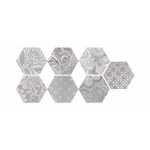 Faber Moroccan 10-in x 12-in Decorative Silver Hexagon Porcelain Floor Tile