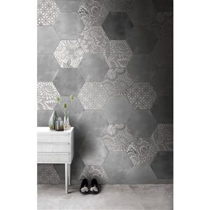 Faber Moroccan 10-in x 12-in Plain Silver Hexagon Porcelain Floor Tile