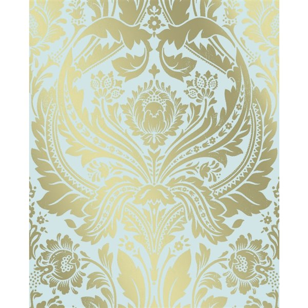 Superfresco Easy Essentials Damask Wallpaper In Teal Gold Lowe S