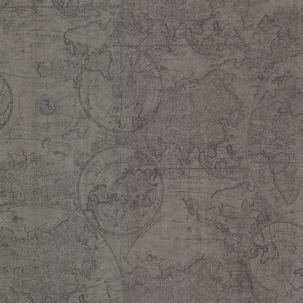 Brewster Wallcovering Oxford Cartography Pewter Vintage World Map Wallpaper
