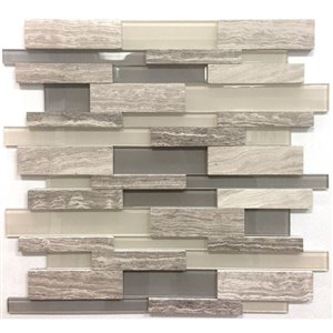 Avenzo 12-in x 12-in 3D Wooden Light Grey Stone and Glass Linear Mosaic Wall Tile