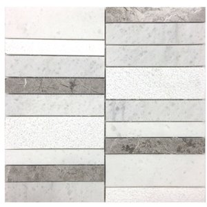 Avenzo 12-in x 12-in Carrera and Valensa Grey Natural Stone Linear Mosaic Wall Tile