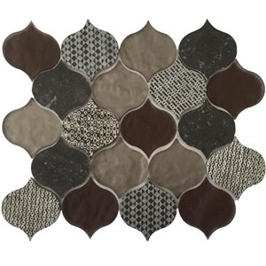 Bestview 10-in x 13-in Decora Droplet Stone and Glass Mosaic Wall Tile (5-Pack)