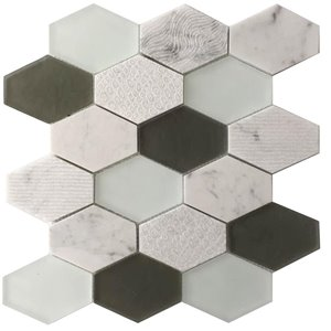 Bestview 5-Pack 12-in x 13-in Anthracite GeoHex Stone and Glass Mosaic Wall Tile