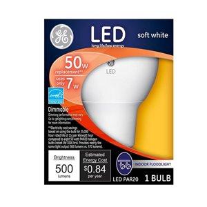 GE Led 7-Watt (50 W Equivalent) 2700 Kelvins Par20 Medium Base (E-26) Soft White Dimmable Indoor Led Flood Light Bulb ENERGY STAR