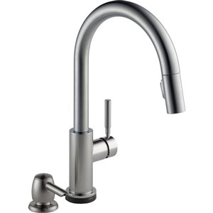 DELTA Trask Spotshied Stainless 1-Handle Deck Mount Pull-Down Touch Kitchen Faucet