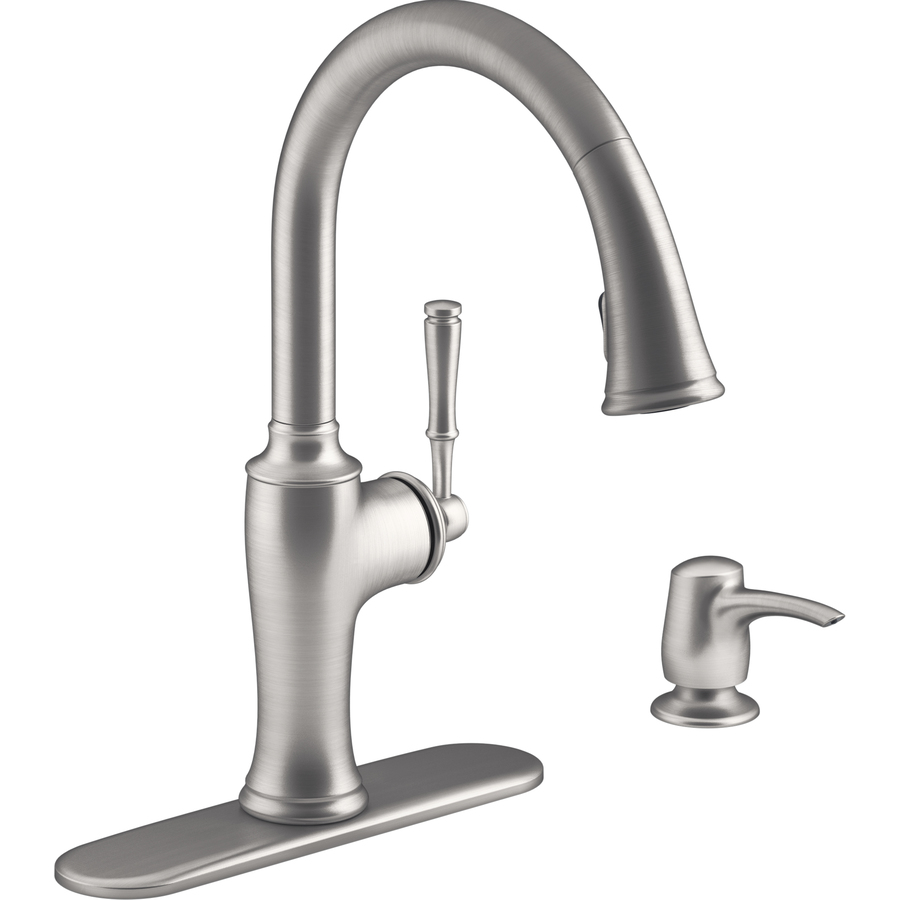 Kohler Cardale Vibrant Stainless Steel One Handle Pull Down Kitchen Faucet With Soap Dispenser