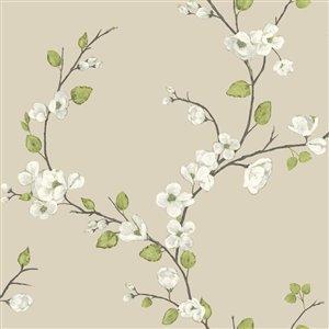 York Wallcoverings Beige Cherry Blossom Peelable Paper Prepasted Classic Wallpaper