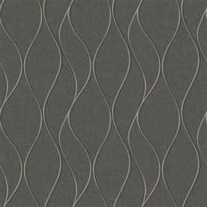 York Wallcoverings Tone On Tone Waves Dark Grey Peelable Paper Prepasted Classic Wallpaper