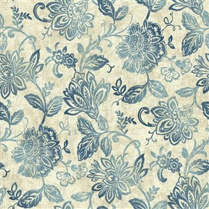 York Wallcoverings Distressed Indigo Floral Peelable Paper Prepasted Classic Wallpaper