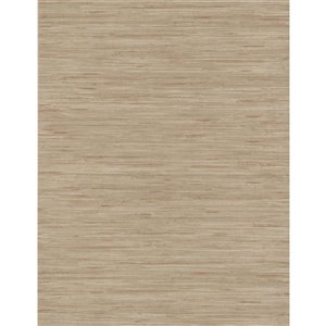 York Wallcoverings Taupe Grasscloth Strippable Non-Woven Paper Unpasted Classic Wallpaper