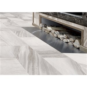 Style Selections Sovereign Stone 1 Pearl Porcelain Marble Floor and Wall Tile (Common: 12-in x 24-in; Actual: 23.7-in x 11.79-in)