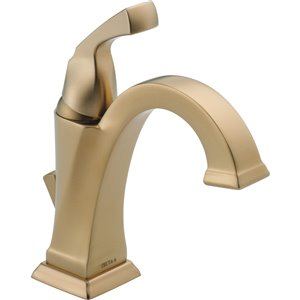 DELTA Dryden Champagne Bronze 1-Handle Single Hole 4-in Centerset WaterSense Bathroom Sink Faucet with Drain