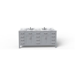 BanoDesign Caru 75-in Double Sink Grey Bathroom Vanity With Natural Marble Top
