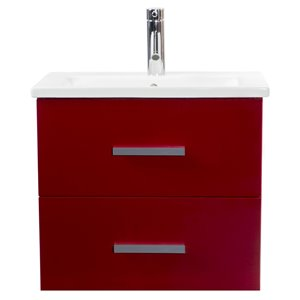 Foremost Scarlet 24-in Single Sink Red Bathroom Vanity With Vitreous China Top