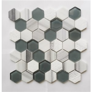 Faber 13-in x 13-in Green and White Hexagon Mix Stone and Glass Mosaic Wall Tile (10-Pack)
