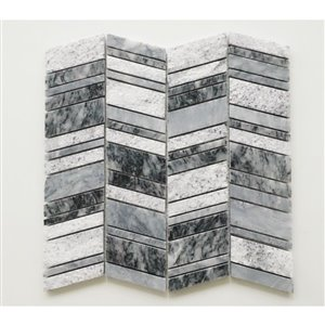 Faber 10-Pack Chevron 12-in x 13-in Dark Grey Natural Stone Mosaic Wall Tile