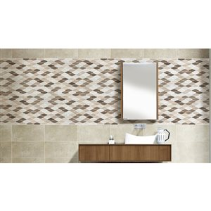 Faber 13-in x 14-in Athens Blend Wave Natural Stone Mosaic Wall Tile