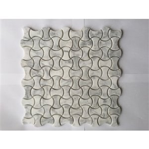 Faber 10-Pack Dog Bone 12-in x 12-in Carrara White Natural Stone Mosaic Wall Tile