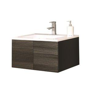 Style Selections Kensington 24-in Single Sink Black Bathroom Vanity With Engineered Stone Top
