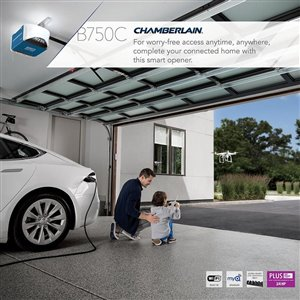 Chamberlain Smart Phone-Controlled Ultra-Quiet and Strong Belt Drive Garage Door Opener with Plus Lifting Power