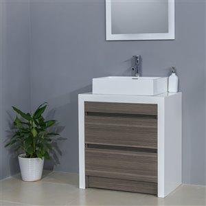 Bestview Oslo 28-in Single Sink White/Walnut Bathroom Vanity With Cultured Marble Top