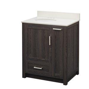Style Selections Charleen 31-in Single Sink Black Walnut Laminate Bathroom Vanity With Engineered Stone Top