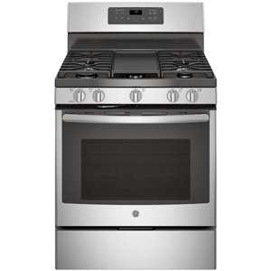 GE 30-in 5-Burner 5-cu ft Self-Cleaning and Steam Cleaning Convection Freestanding Gas Range (Stainless Steel)