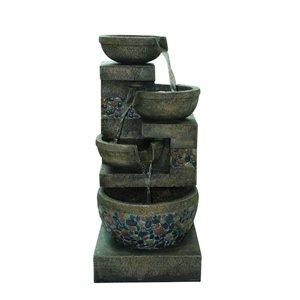 Garden Treasures Outdoor Fountain 32.4-in Resin Tiered Fountain