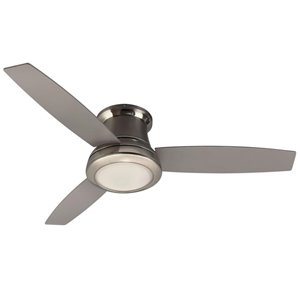 Harbor Breeze 52-in Brushed nickel 3-Blade Flush Mount Ceiling Fan with Light Kit