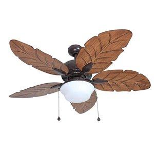 Harbor Breeze Waveport 52-in Bronze 5-Blade Downrod Mount Ceiling Fan with Light Kit