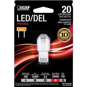 Feit Electric 2.5-Watt/160 Lumens G8.6 Pin Base Wedge LED Light Bulb (1-Pack)