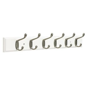 Franklin Brass 26.51-in White Rail with 6 Coat and Hat Hooks