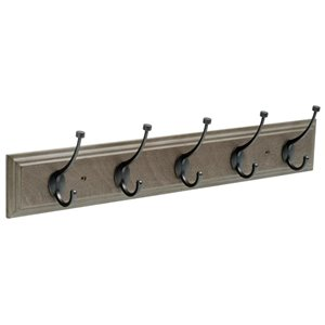 Franklin Brass 26.51-in Driftwood Rail with 5 Coat and Hat Hooks