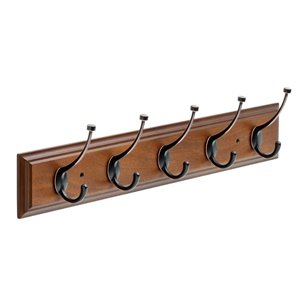 Franklin Brass 26.51-in Bark Rail with 5 Coat and Hat Hooks