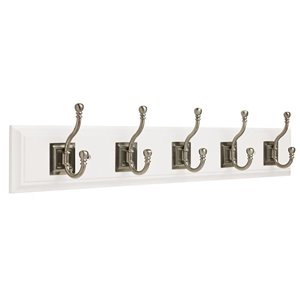 Franklin Brass 26.51-in White Rail with 5 Coat and Hat Hooks