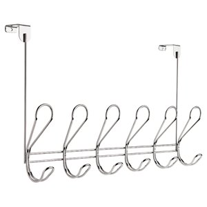 Franklin Brass Dolen Chrome Over-The-Door Rail with 6 Hooks