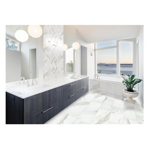 American Olean Tiffany Heights 12-in x 24-in Bianco Porcelain Floor and Wall Tile