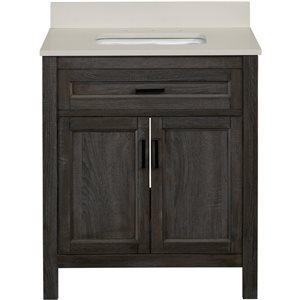 Scott Living Durham 30-in Single Sink Gray Bathroom Vanity With Engineered Stone Top
