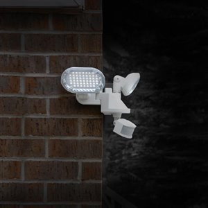 Sunforce 180-Degree 2-Head White Solar Powered Led Motion-Activated Flood Light Timer Included