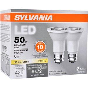 SYLVANIA 6-Watt /425 Lumens Medium Base (E-26) Reflector LED Light Bulb (2-Pack)