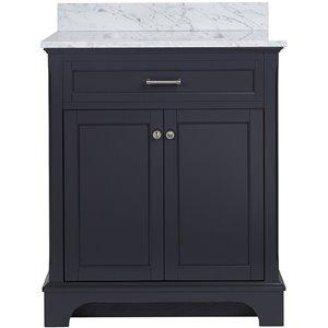Scott Living 30-in x 22-in Gray Undermount Single Sink Birch Bathroom Vanity with Natural Marble Top