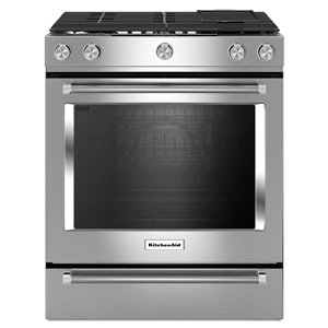 KitchenAid 30-in 5-Burner Convection Single Oven Dual Fuel Range (Stainless Steel)
