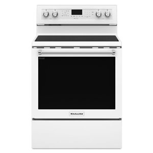 KitchenAid 30-in 6.4 cu ft Electric Range with Self-cleaning Convection Oven (White)