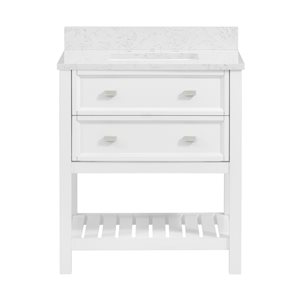 Scott Living Canterbury 30-in Single Sink White Bathroom Vanity With Engineered Stone Top