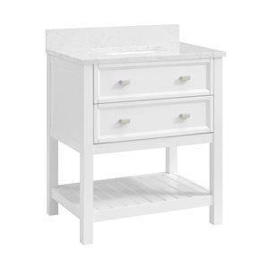 Scott Living Canterbury 30-in Single Sink White Bathroom Vanity With Engineered Stone Top
