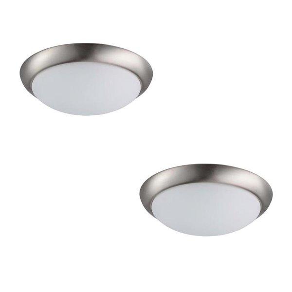 info for d4aef 8052f Prominence Home 2-Pack 13-in W Brushed Nickel Integrated Led Flush Mount  Light