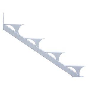 Regal Quick Step 4-Step Aluminum White Deck Stair Stringer 2-Pack