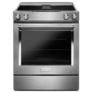 KitchenAid 30-in 6.4 cu ft Slide In Electric Range with Self-cleaning Convection Oven (Stainless Steel)
