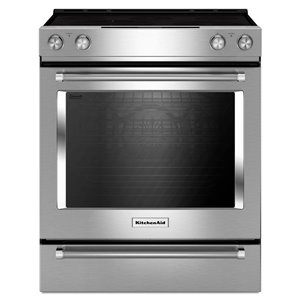 KitchenAid 30-in 7.1 cu ft Slide In Electric Range with Self-cleaning Convection Oven (Stainless Steel)